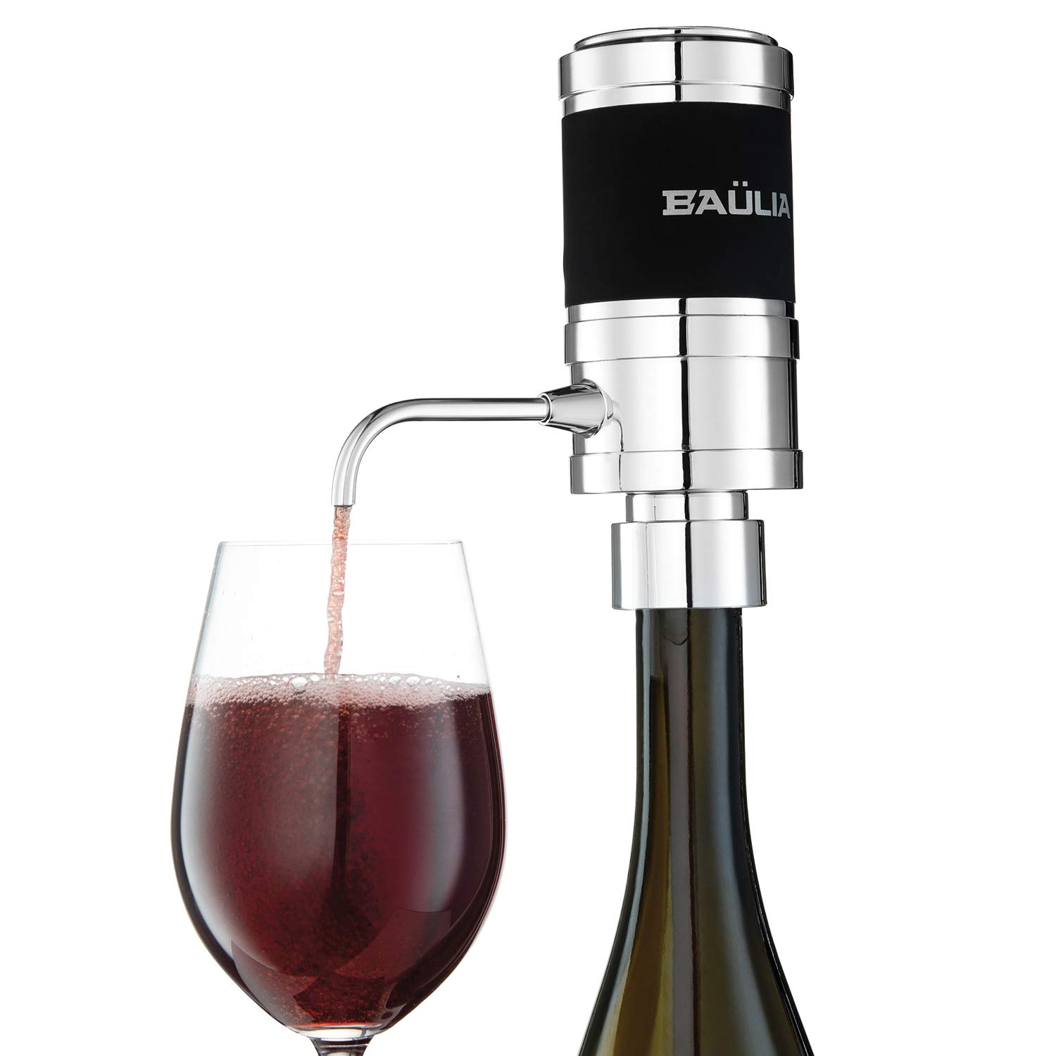 Pump Dispenser with Vacuum Sealer Baulia WA819 Electric Aerator One Touch Operation Instantly Allow Wine to Breath Silver