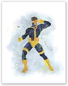 Cyclops Print - X-Men Movie Poster - Watercolor Poster for Kids - Superhero Nursery Wall Art - Birthday Decor (8x10)