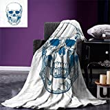 smallbeefly Skull Digital Printing Blanket Hand Drawn Human Skull with Science Elements Background Medical Theme Illustration Summer Quilt Comforter Blue White