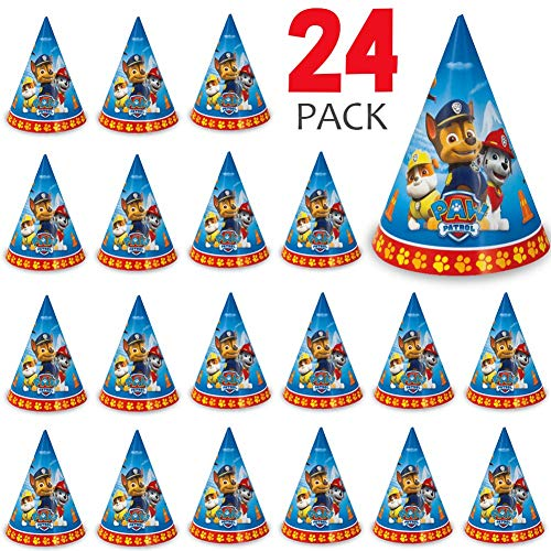 24 Paw Patrol Party Hats Perfect for Birthday Party, Kids/Boys & Girls Events, Birthday Party Supplies, Measures 8