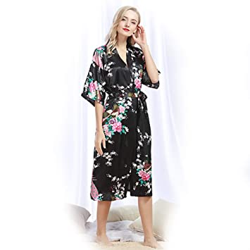 Kimono Mujer Pijama Pijamas Verano Camison Raso Camisones Bata Invierno Batas Medium Textil de Largo Lenceria Saten Seda Albornoz Vestido Noche,black,S: ...