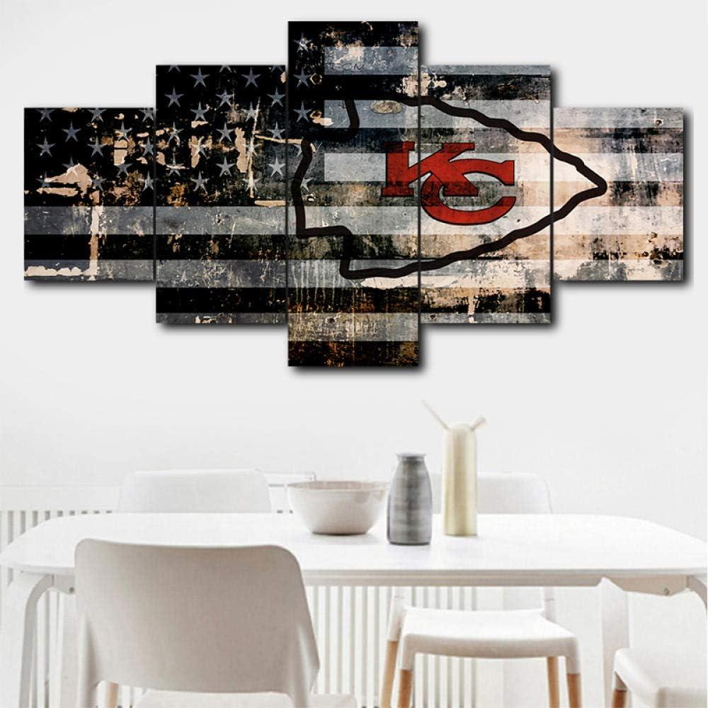 Loveygg Leinwanddrucke 5 St/ücke Modulare Leinwand Hd Print Poster Wohnkultur Wandkunst Bild 5 St/ücke Kansas City Chiefs Sport Logo Leinwand Malerei,100x55cm