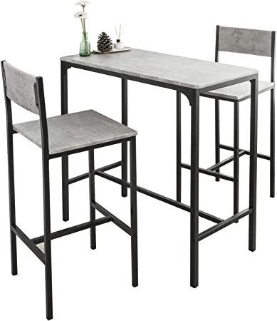 Sobuy Ogt03 Hg Bar Set 1 Bar Table And 2 Stools 3 Pieces Home Kitchen Breakfast Bar Set Furniture Dining Set Amazon Co Uk Kitchen Home