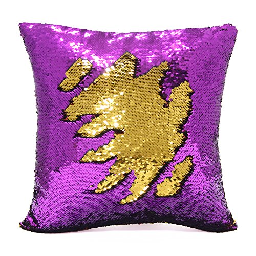 Magic Tails (Mermaid Pillow Case, Play Tailor Magic Reversible Sequin Pillow Cover Throw Cushion Case 16