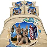 EsyDream Hawaii Beach Surfing Cool Dogs Print Duvet Bed Sheet 3PC King Queen Twin Size Beach Starfish Shell Surfing Dog Boys Bedding Bedspreads No Quilt(King,Color 7)