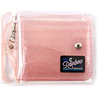 Fanct Women Girls Glitter PVC Folding ID Card Holder Transparent Lanyard Wallet Card Case Gift