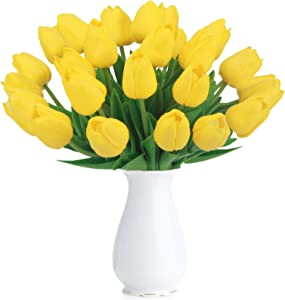 Bomarolan Artificial Tulip Fake Holland Mini Tulip Real Touch Flowers 24 Pcs for Wedding Decor DIY Home Party (Yellow)