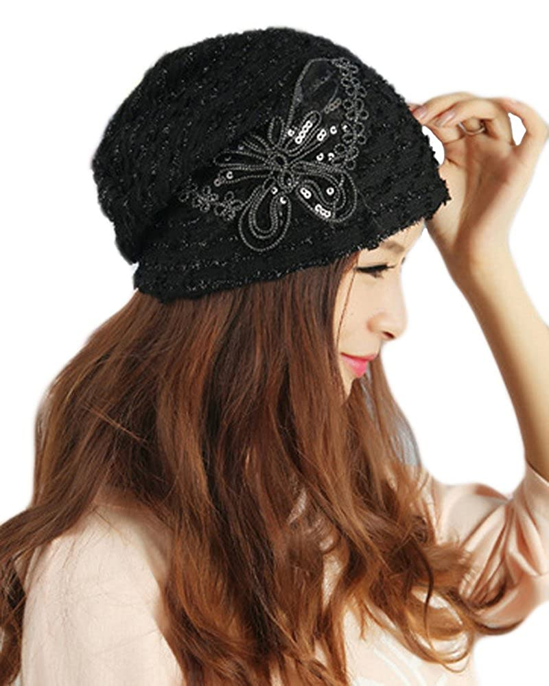 e9b090bf7d687 Amazon.com  Qunson Womens Lace Sequin Butterfly Beanie Hat Cap Turban   Clothing