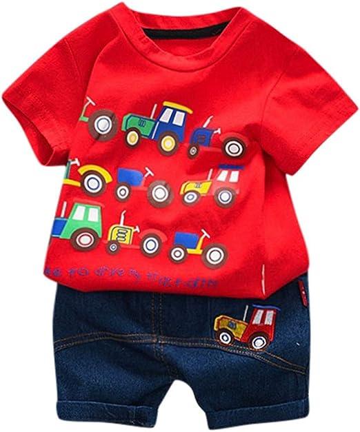 Medium Little Hand Kids Toddler Little Boys Clothes 2 Piece Printed T-shirt Tops 2-3 Years Black, Harem Pants Short Outfits Set