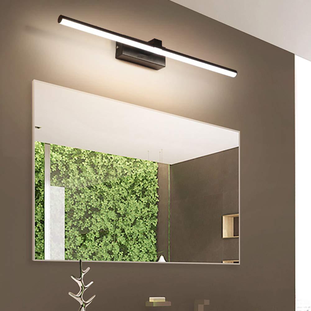 VinDeng Negro LED L/ámpara espejo Para Cuarto de ba/ño 10W Aplique espejo L/ámpara de pared Con Met/álico El hierro Acr/ílico Impermeable Apliques de pared Simple Moderno-50CM Luz neutra