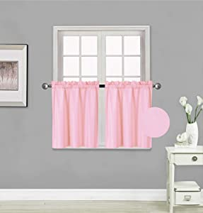 Rooney 2 Panels Thermal Insulated Blackout Tiers Curtain with White Back Lining Window Light Blocking Panel Drapes for Any Small Window (Light Pink, 30