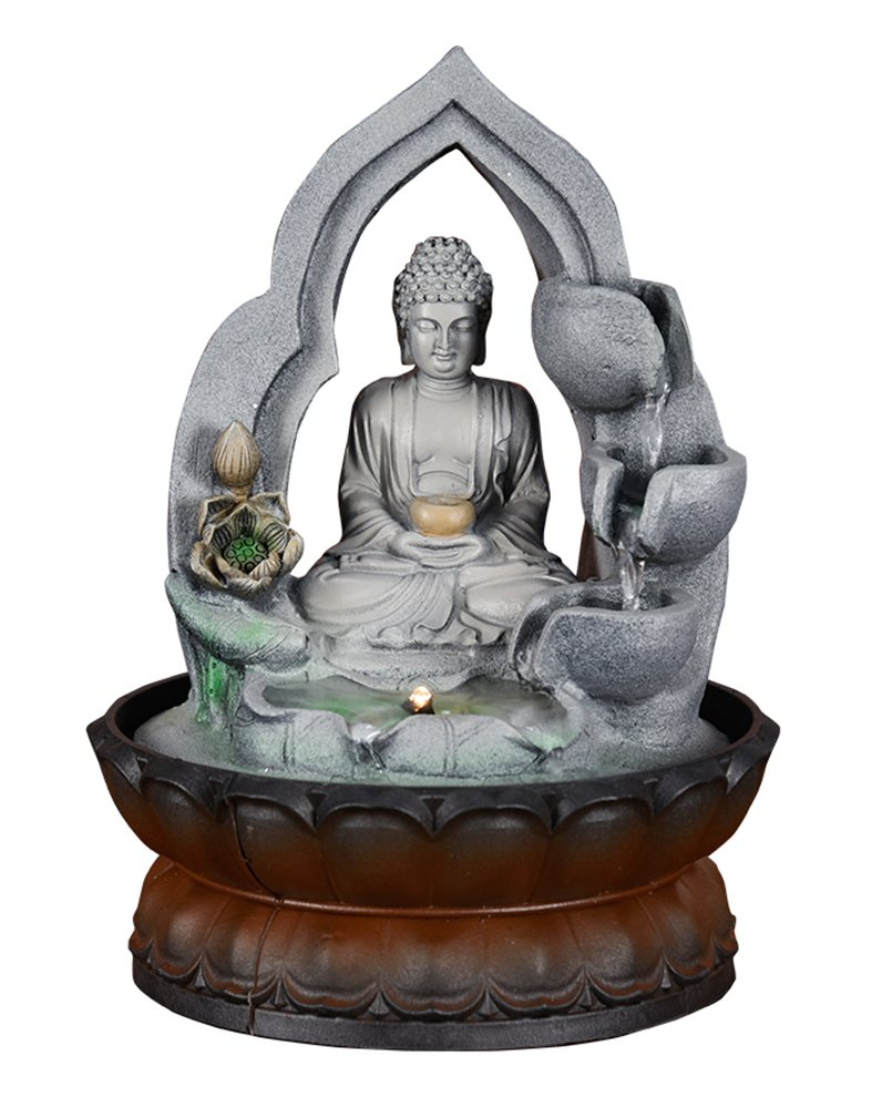 Meditating Buddha Water Fountain 10 1/5'', Fengshui Zen Desktop Waterfall Fountain Tabletop Water Decoration for Indoor Home Office