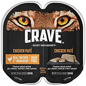 Crave Grain Free High Protein Wet Cat Food Trays - Chicken Paté  (24 Twin Packs,  2.6 oz each)