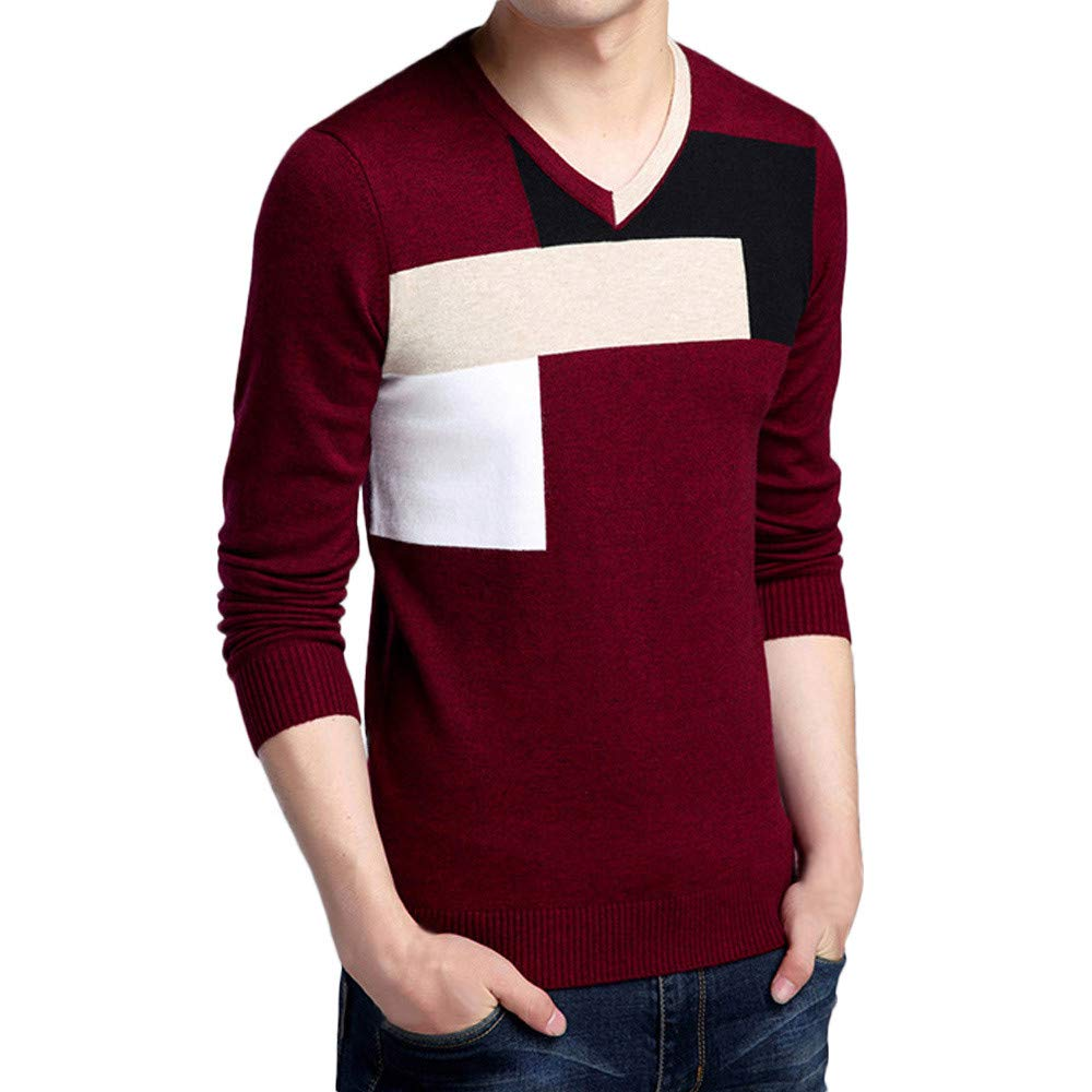 WUAI Clearance Deals, Men's Casual Pullover Long Sleeve V-Neck Patchwork Slim Fit Turtleneck Sweater WUAI-mens tops
