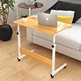 Adjustable Overbed / Chair Table Movable Bedside Table Height-Adjustable Laptop Table Lazy Computer Stands Multi-function Table (Brown)