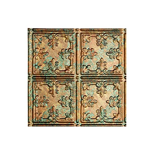 FASÄDE - Easy Installation Traditional Style/Pattern #10 Copper Fantasy Lay in Ceiling Tile/Ceiling Panel (12X12 Inch Sample)