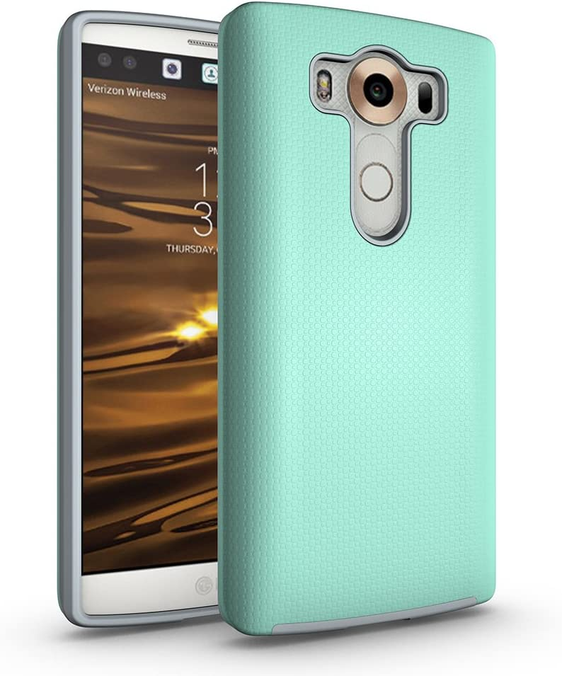ACMBO LG V10 Non-Slip case, Dual Guard Protective Shock-Absorbing Scratch-Resistant Rugged Drop Protection Case Cover for LG V10 H900 H901 VS990 H960A H962 5.7 inch, Mint Green