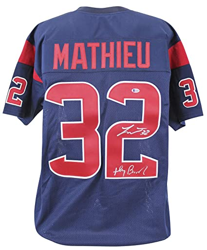 size 40 d9c45 5ecc3 Texans Tyrann Mathieu Honey Badger Autographed Signed Blue ...
