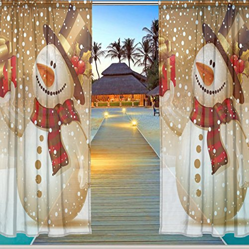ALAZA Window Sheer Curtain Panels,Christmas Decoration Cute Snowman Yeti,Door Window Gauze Curtains Living Room Bedroom Kid's Office Window Curtain 55x84inch Two Panels Set