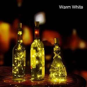 Mallalah Lámpara LED para botella solar Luz LED Guirnaldas Diseño de interiores Multicolores 2 M Luces estrelladas Bricolaje Hogar Jardín al aire libre Terraza Boda y fiesta de Navidad (Blanco cálido)