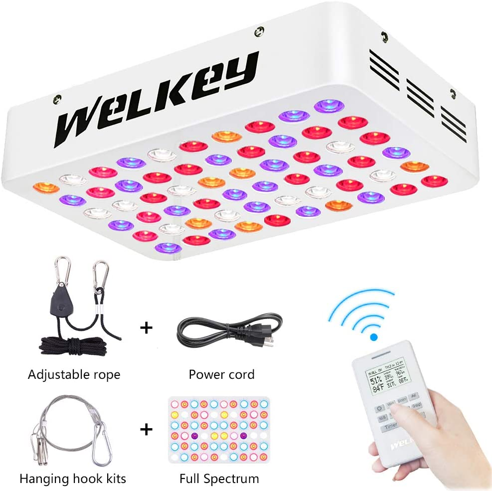 Welkey Plus Remote Control Series 600W LED Grow Light Dual Chips Grouping,Timer,Temperature and Humidity Monitor Full Spectrum Growing Lamp for Hydroponic Indoor Plants Veg and Flower 10W LEDs 60PCS
