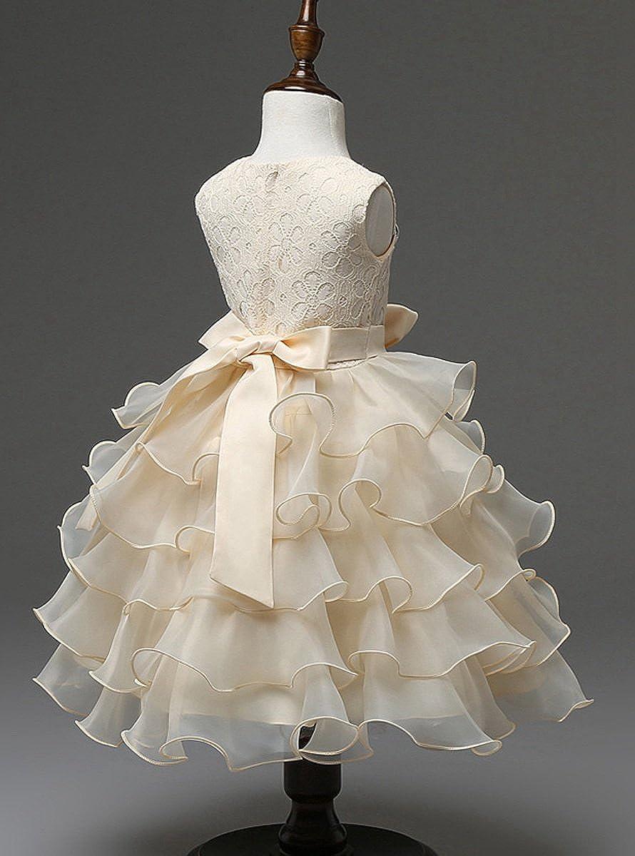 Happy Cherry - Vestido de Princesa Formal Traje de Fiesta Tutú con Encaje Lazo Elegante Dress para Niñas Boda Fiesta Ceremonia 2-8 Años: Amazon.es: Ropa y ...