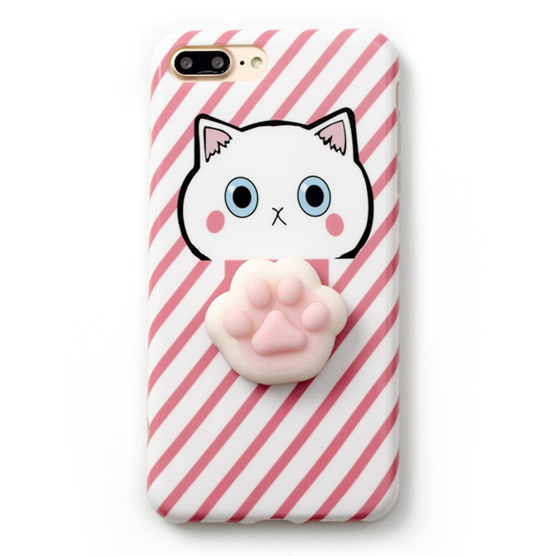 outlet store 57025 72b0b iPhone 7 Plus Case, Tricess 3D Cute Soft Silicone Squishy Cat Phone Case  for iPhone 7 Plus