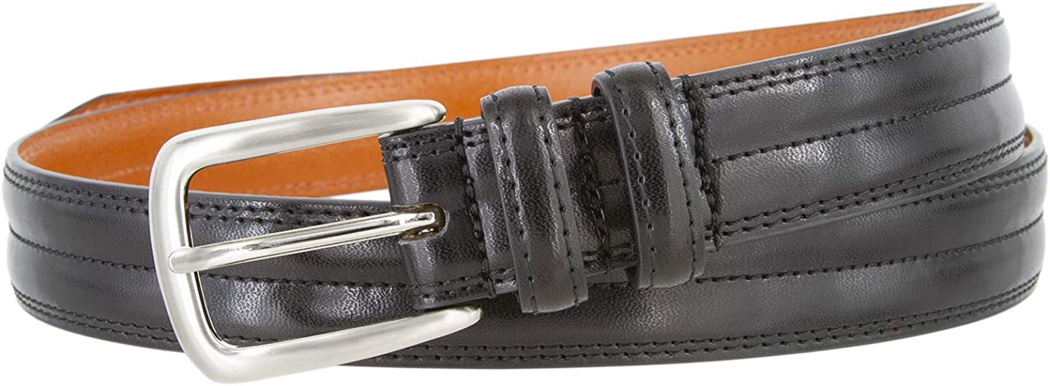 3103 Center Stitched Smooth Leather Dress Belt 1-1//8 wide