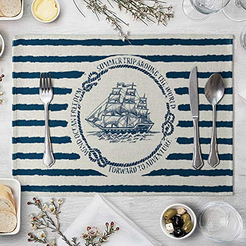 memorytime Fish Rudder Compass Heat Insulated Pad Kitchen Dining Table Mat Placemat Decor Kitchen Dining Supplies - 4# by memorytime (Image #1)