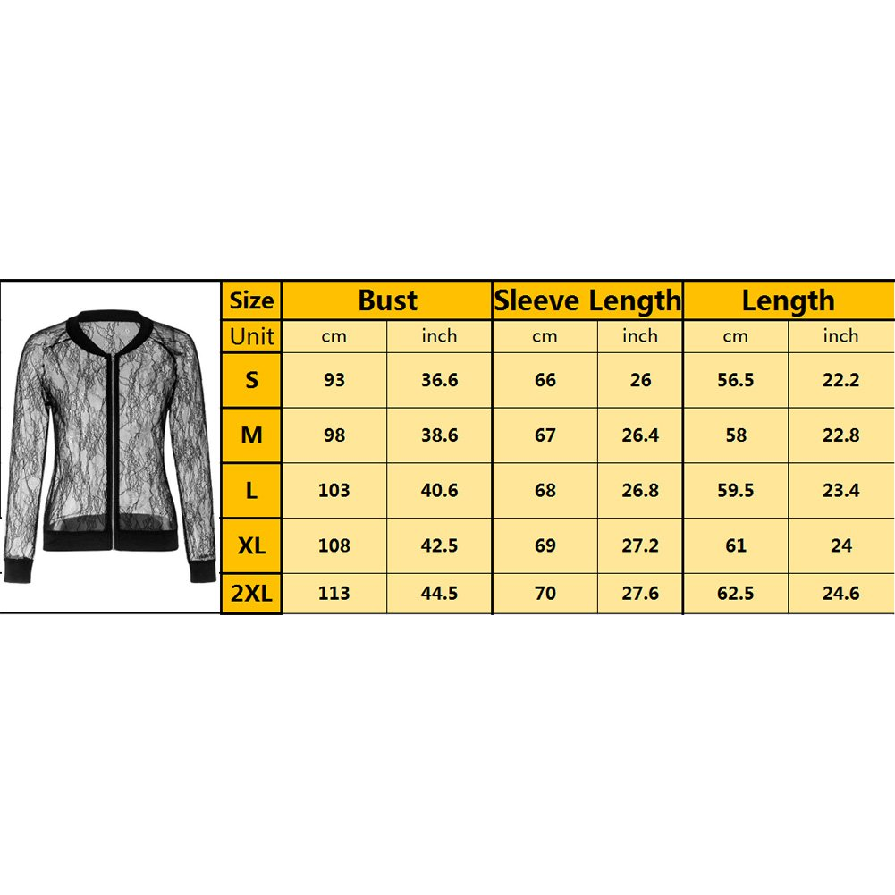 Women's Casual See Through Lace Patchwork Zip Up Bomber Jacket Short Coat Tops Black XXL by Joseph Costume (Image #7)