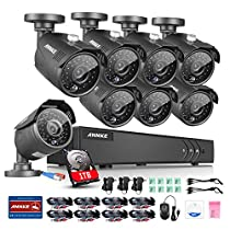 Annke 8CH 1080P Lite Security DVR Recorder with 1TB Hard Drive and (8) Outdoor 960p Weatherproof HD Cameras, 100ft Night Vision, Motion Detection, Smart Playback and Email Alarm with Images