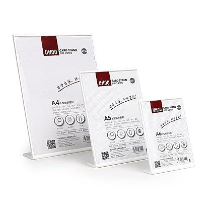 A4 217 * 310 mm forma de L negro y blanco mesa menú soporte ...