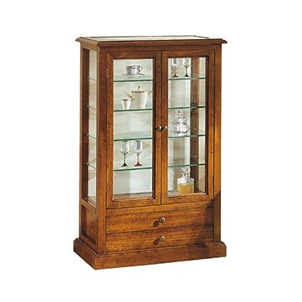 Vetrina, stile classico, in legno massello e mdf con rifinitura in ...