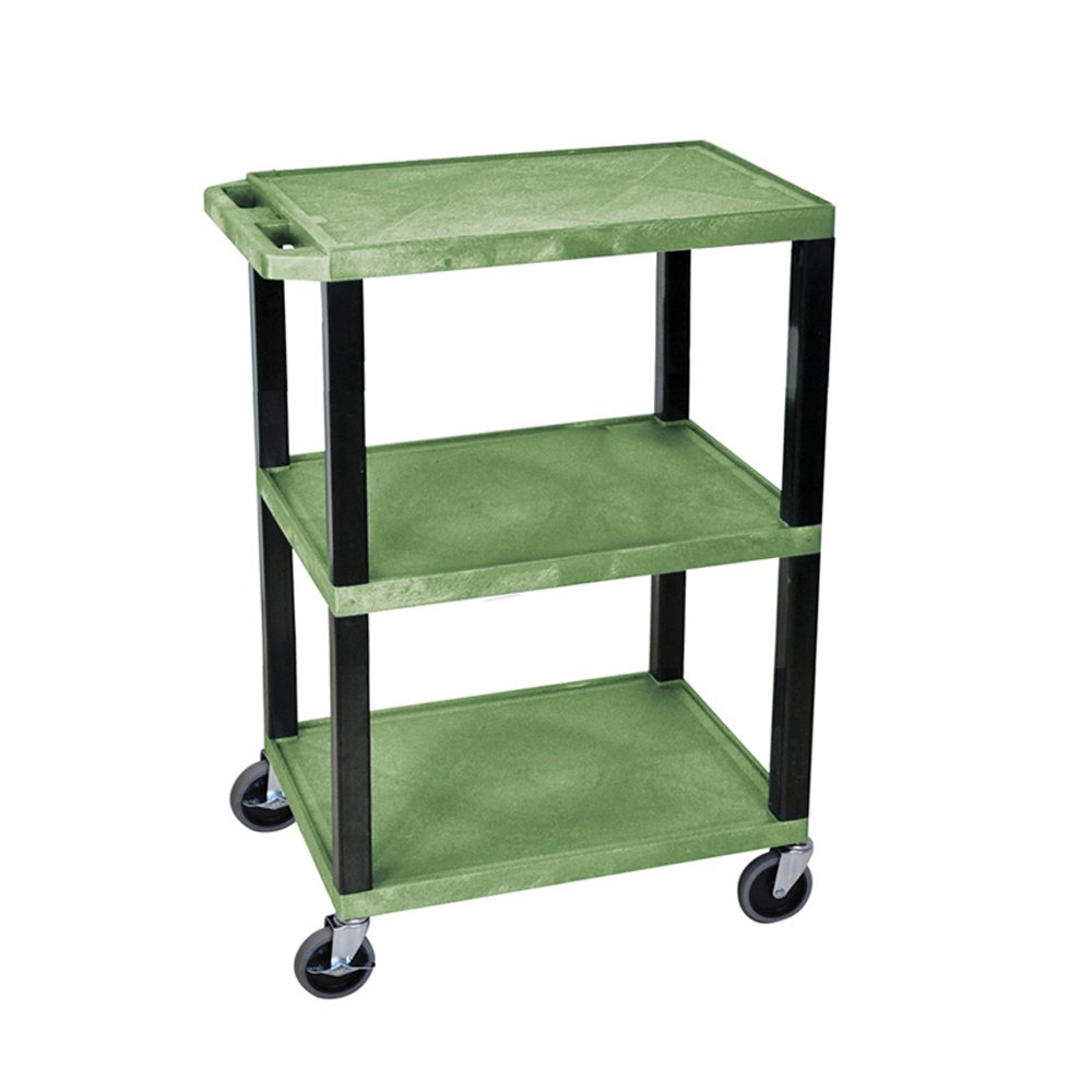 H WILSON WT34GS Tuffy Presentation Cart, 34'' H x 24'' W x 18'' D, Green and Black