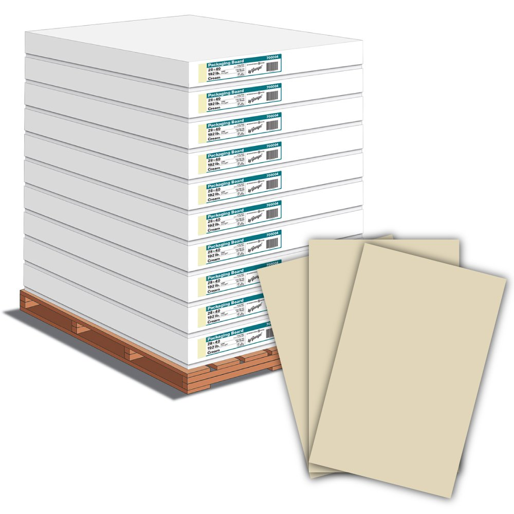 By George 18.0pt Colored Cardstock And Packaging Board, 192lb, 312.5 GSM - 5,000 Sheets / 20 Cartons / 1 Pallet, 28 x 40'', Sand Castle (700004P)