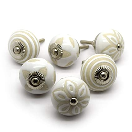 Pomelli per ante credenza in ceramica color beige e panna - 6 pezzi ...