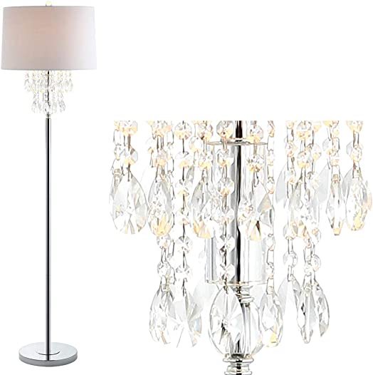 JONATHAN Y JYL2034A Abigail 61″ Crystal/Metal LED Floor Lamp Contemporary,Transitional,Traditional,Glam