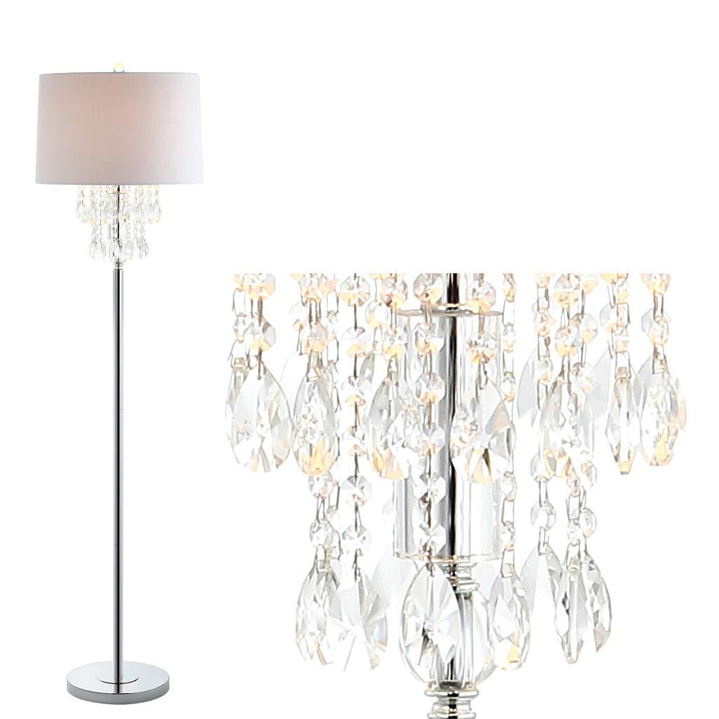 61 Crystal Metal LED Floor Lamp, Clear Chrome, Traditional Bulb