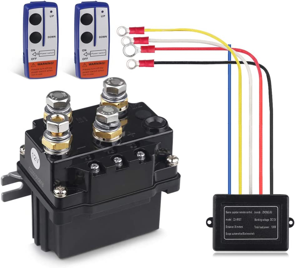 Amazon.com: WATERWICH 12V 500A Winch Solenoid Relay Contactor+2pcs Wireless  Winch Remote Control Kit with 6 Protecting Caps Universal for Truck Jeep  ATV SUV 5500-12000lbs Winch: Automotive | Winch Solenoid Wiring Jeep |  | Amazon.com