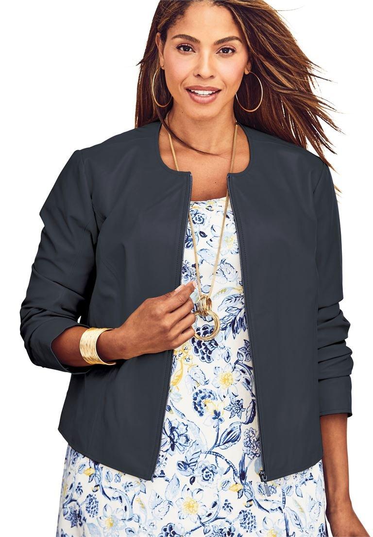 Jessica London Women's Plus Size Crop Leather Jacket Navy,30 W by Jessica London