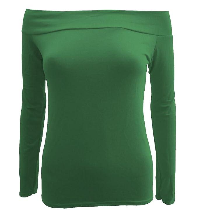 Frauen weg von den Schulter-Boot-Ausschnitt Langarm-T-Shirts Oberteile:  Amazon.de: Bekleidung