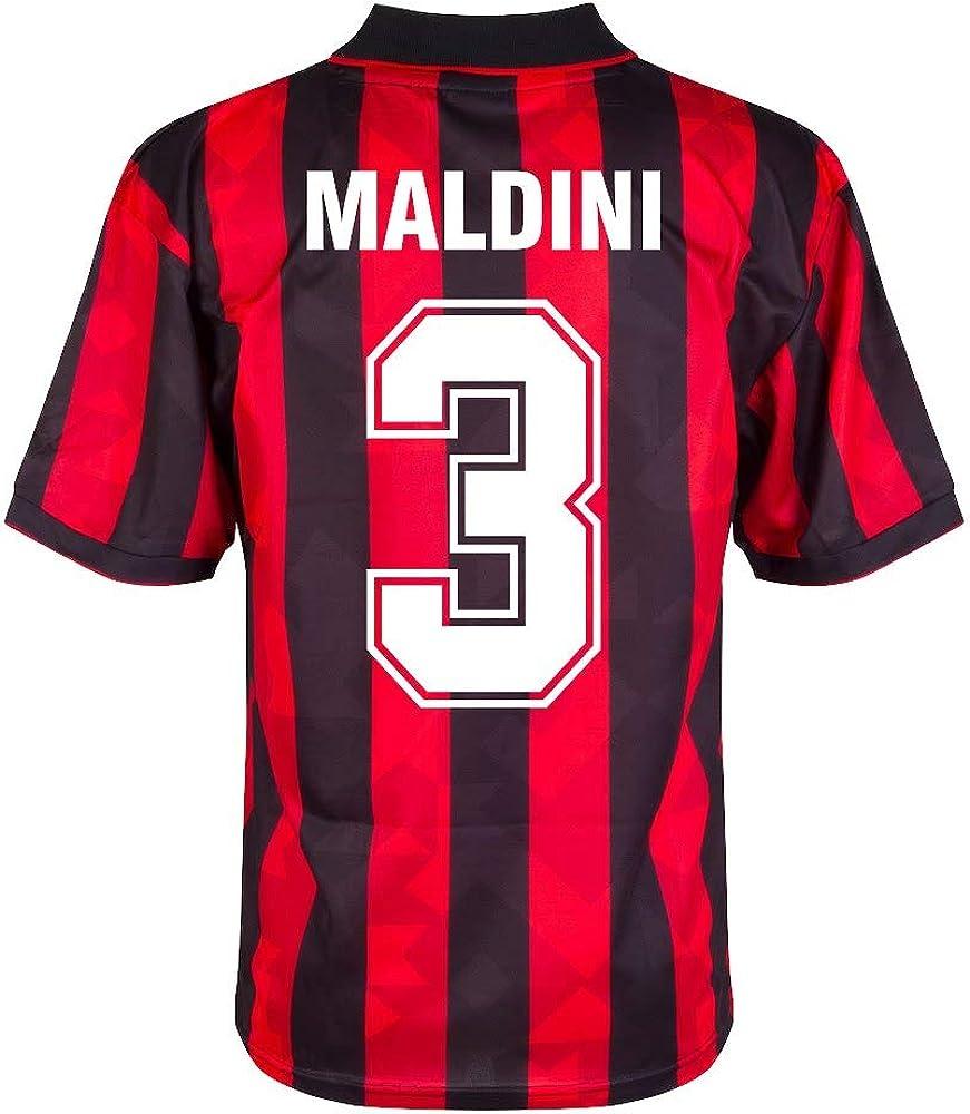 Score Draw AC Mailand Home Retro Maldini 3 Trikot 1993-1994 Retro Filz-Spielerbeflockung