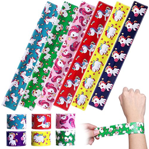 iBaseToy Unicorn Slap Bracelets - Birthday Party Favors Carnival Prizes for Kids Boys Girls Adults, 6 Designs (24 Pack)