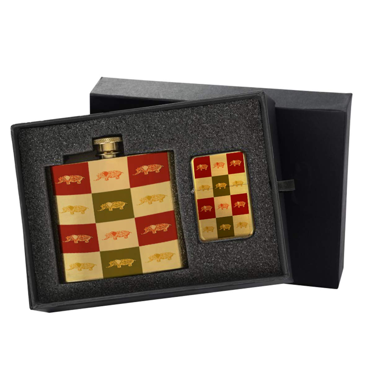 Girls Elephant Flowers - Gold Lighter and Pocket Hip Liquor Flask Survival Camping Gift Box Set