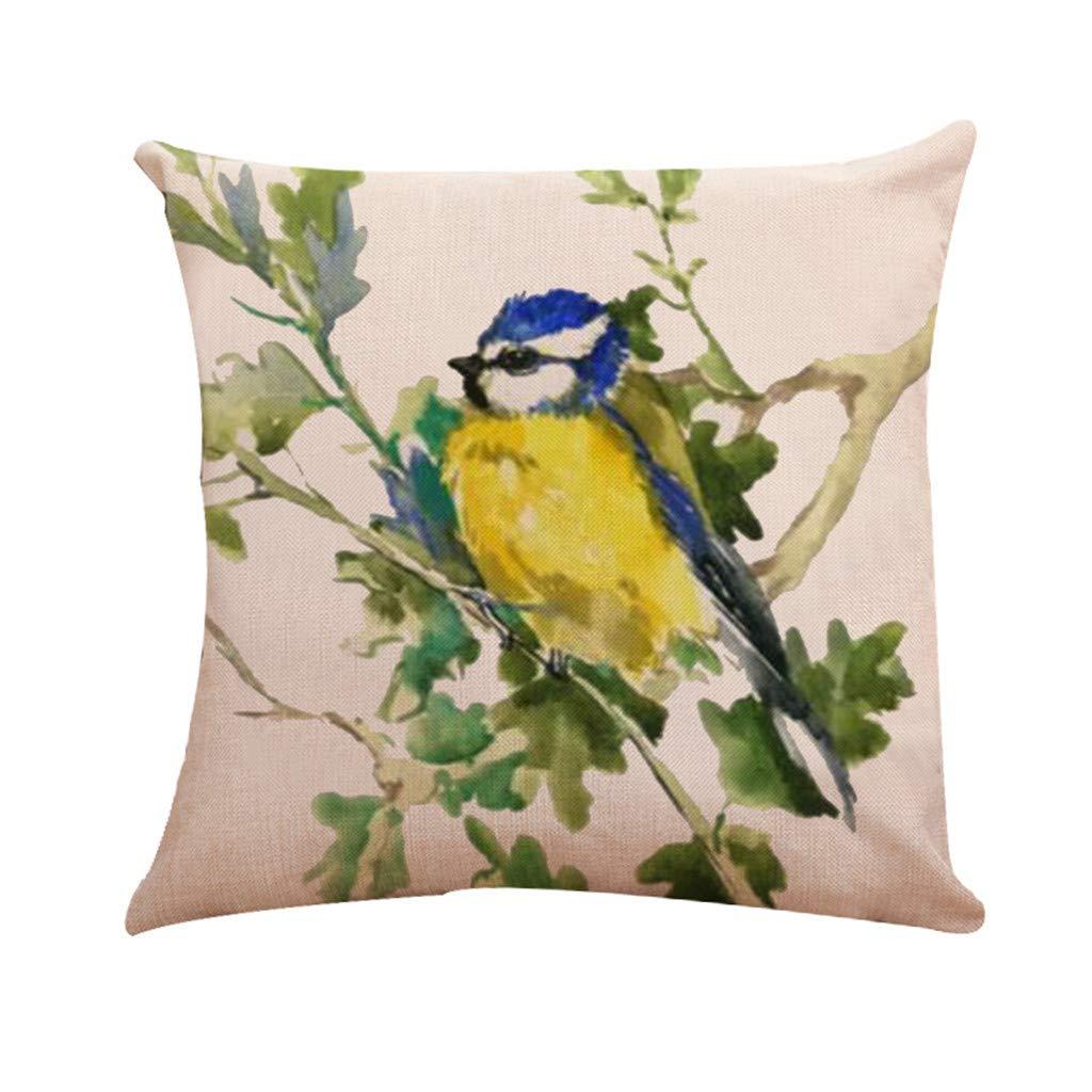 Zimuuy,Taie d'oreiller d'oiseau, taie d'oreiller de décoration de Maison de Housse de Coussin de Voiture de Sofa de Lin(Taille Unique,A)