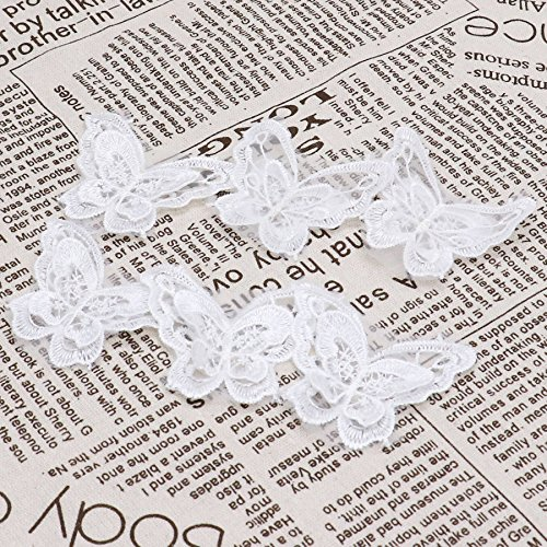 HUELE Pack of 20 Double Layer Butterfly Lace Embroidered Trims on White organza Appliques Patches for Wedding Dress, Sewing DIY Craft