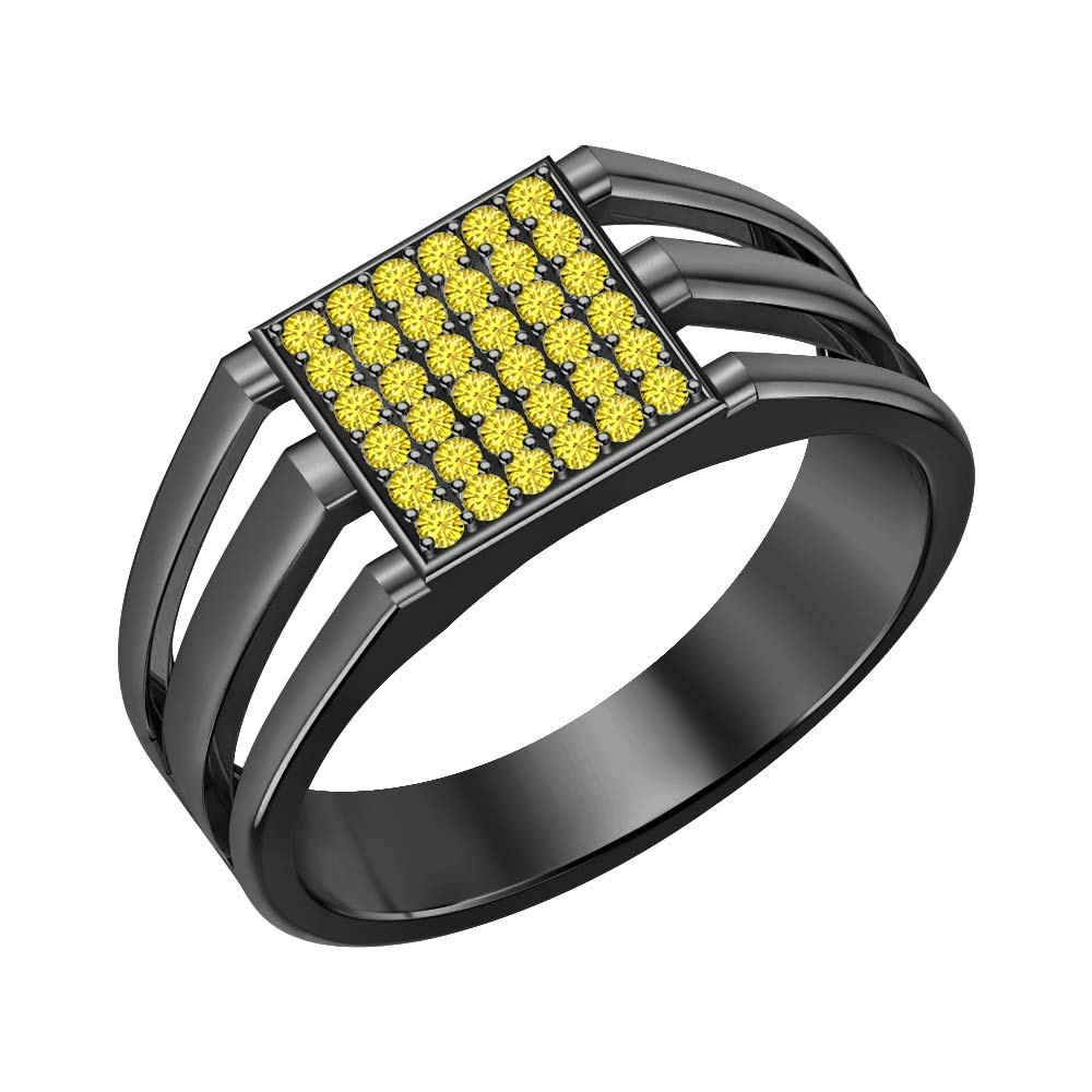 SVC-JEWELS 14k Black Gold Over 925 Sterling Silver Yellow Sapphire Cluster Engagement Wedding Band Ring Mens