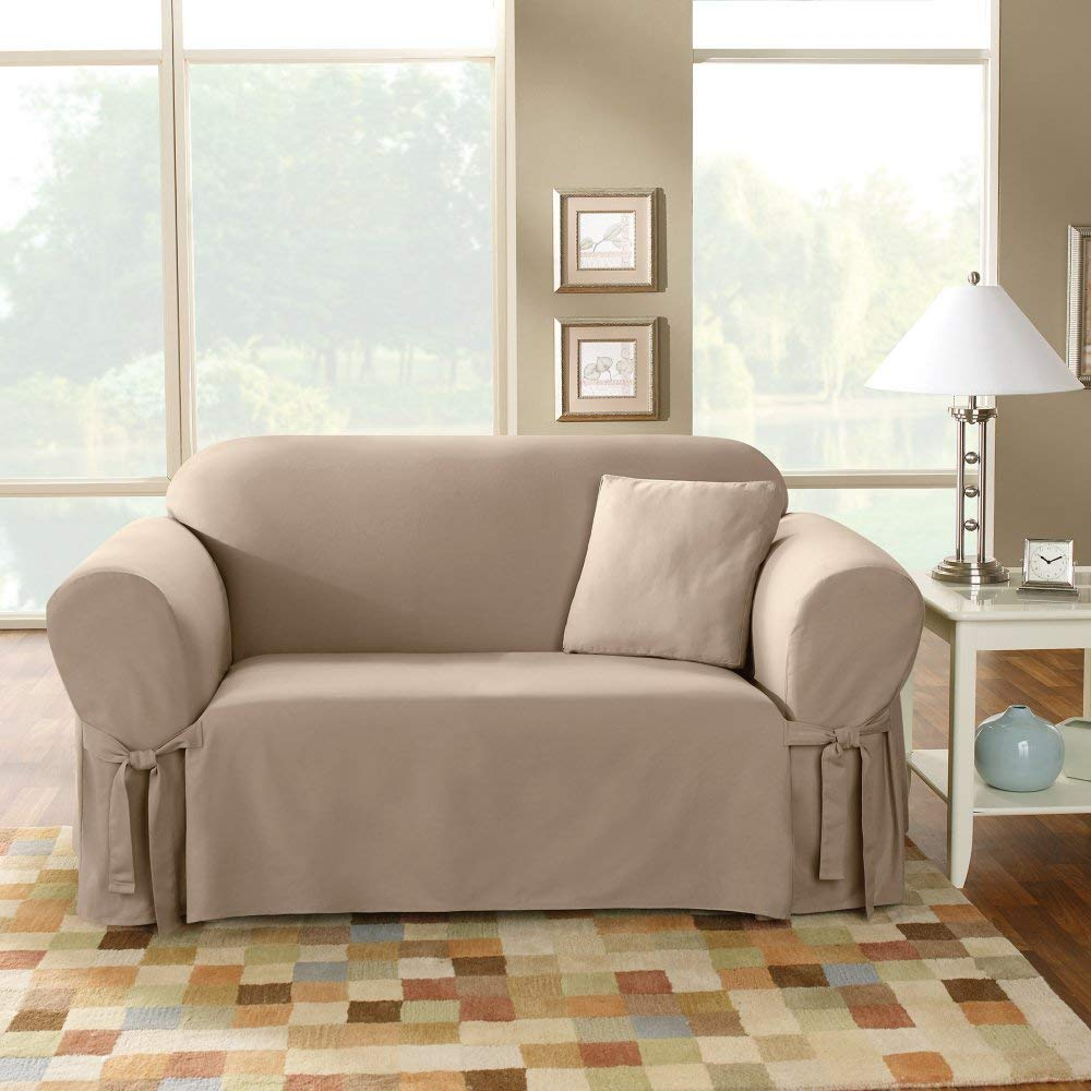 SureFit  Cotton Duck Heavyweight Loveseat Slipcover, Linen by Sure Fit