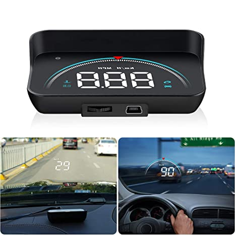 Coche HUD Head Up Display mph/KMH LCD Tacómetro Digital ...