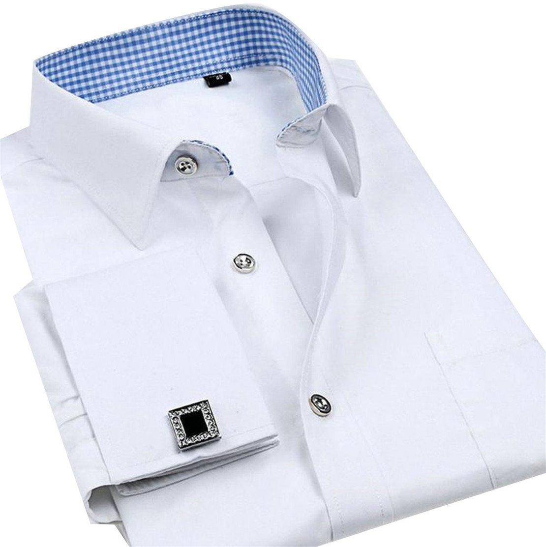 Pandapang Mens Vogue Pocket Long Sleeve Lapel Neck Cufflinks Button Down Shirts White L